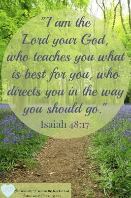 """""""... 'I am the Lord your God, who teaches you what is best for you, who directs you in the way you should go.'"""" Isaiah 48:17 When we fill our days with God's best ..."""
