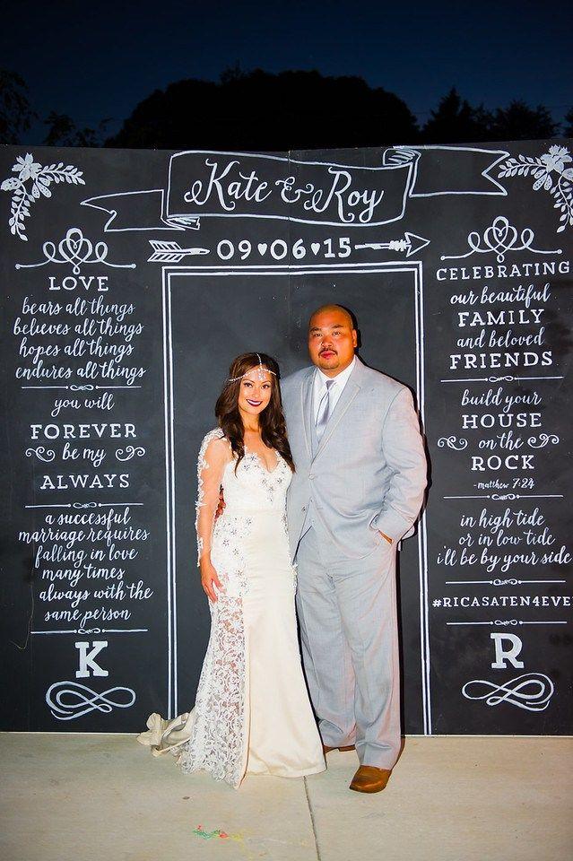 DIY Chalkboard Photobooth Backdrop designed by graphic designer, Krystle Villanueva, and hand painted by Mark It. Photography by Glenn Orion. Visit http://kvillanueva.com.