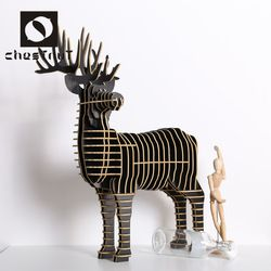Contemporary carved wood mini deer furniture toys sculpture home decoration