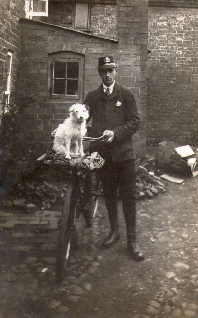 Vintage Royal Mail Photograph of unknown Victorian postman and his guard dog.
