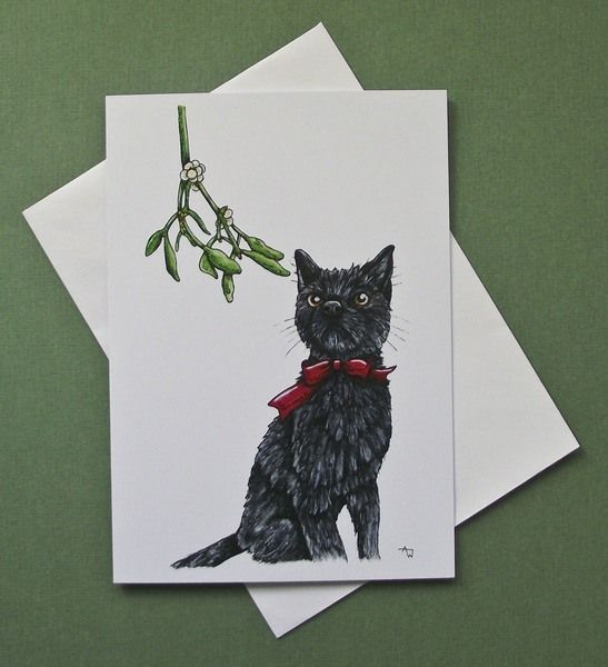 Buy Mistletoe Cat Christmas Card. Handmade by creative people crafting through DISABILITIES, CHRONIC ILLNESS or are CARERS
