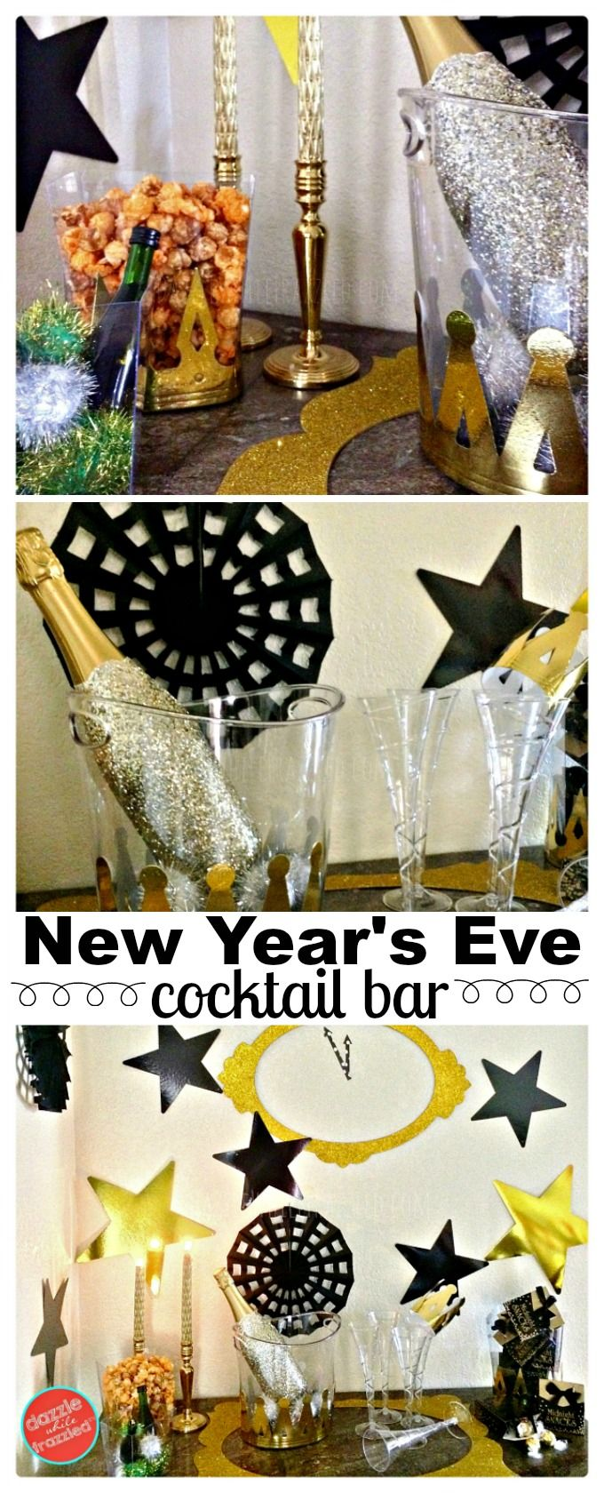 How to set up a New Year's Eve cocktail bar, beverage and snack station at-home. DIY New Year's Eve party decorations with gold and black metallic glittery decor. Celebrate New Year's with kids at home. via @https://www.pinterest.com/dazzlefrazzled/ #newyearsparty #CocktailParty
