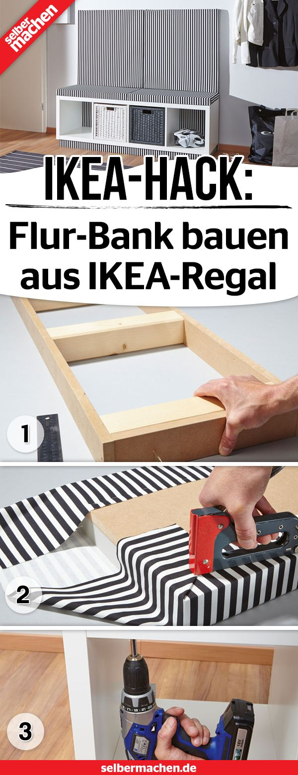 Flur-Bank aus IKEA-Kallax-Regal bauen – Selber Machen