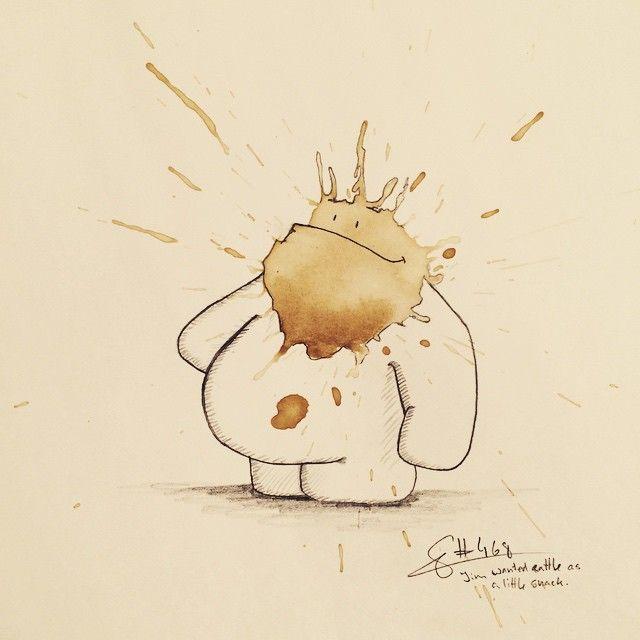 Quand vous faites une grosse tache de café vous pouvez soit l'étaler pour en faire un joli dessin, soit la laisser sécher et prendre un crayon pour la transformer en petit monstre joyeux comme Stefan Kuhnigk.