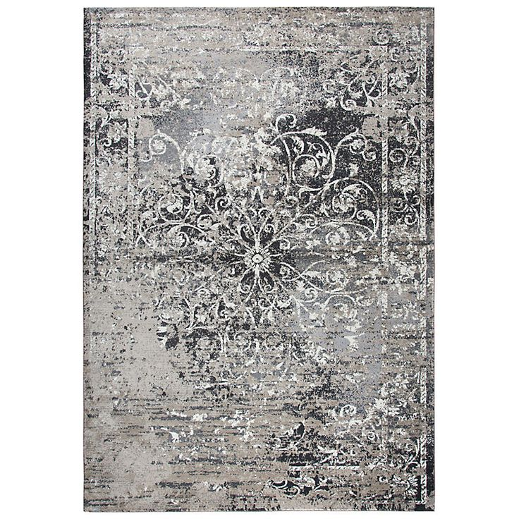 Gray and taupe scrolled medallion area rug 8x10