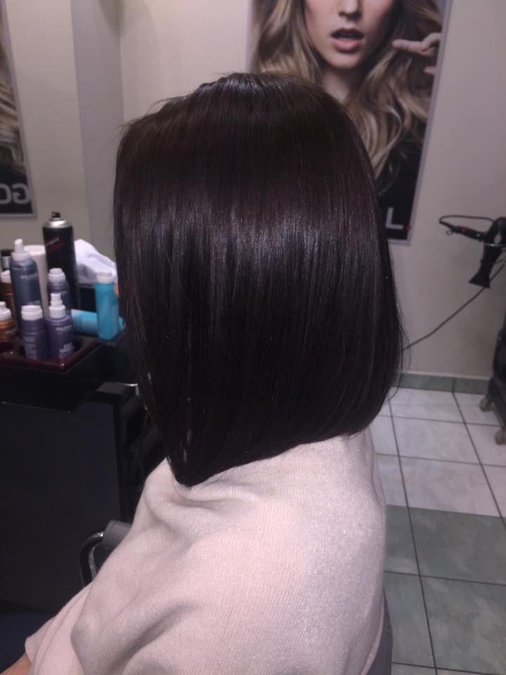 Wykonanie: Monika. www.fryzjer.lublin.pl #dark #black #hair #hairstyle #haircut #bob #woman #fryzjer #fryzury #włosy #Lublin