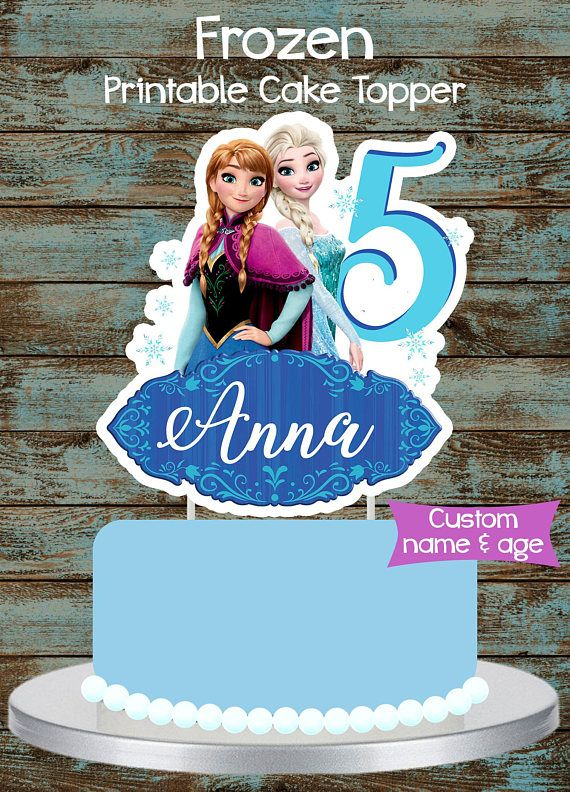 Printable Frozen Cake Topper Centerpiece Birthday Party Decorations Disney Centerpieces