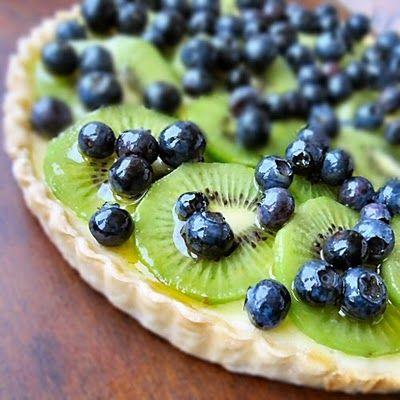 kiwi blueberry cream cheese tart