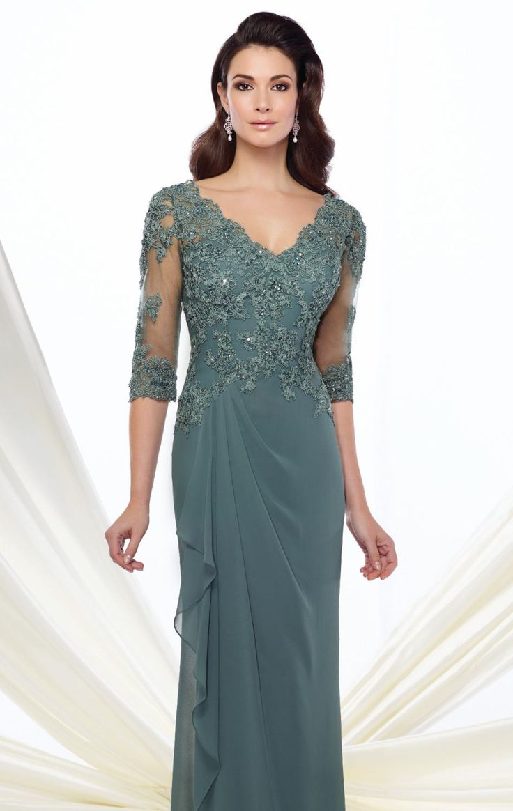 Let your beauty stand out in Mon Cheri Montage 216965W. This long gown features a V-neckline with three quarter length sleeves. The fitted bodice is encrusted with hand-beaded beads that create an edgy look.