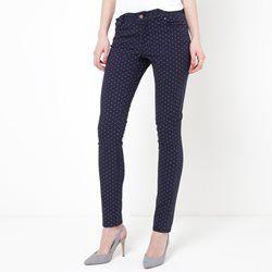 Slim broek met stippen, 5-pockets model, stretch katoen