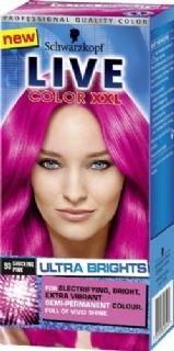 Live color XXL Ultra Brights 93 Shocking Pink geeft een intensieve en heldere verkleuring op reeds geblondeerd haar en een een meer subtielere verkleuring op natuurlijk of geverfd haar.