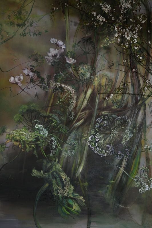 MURALS, FROM THEM SOMETHING MORE AND SOMETHING INEXPLICABLE FORCES EMOTION. I PAINT THEM IN OIL, EITHER DIRECTLY ON THE WALL OR ON WOODEN PANELS IN LONG FRIEZES ACCORDING TO WHAT THE LOCATION DICTATES.  - Claire Basler, Chateau de Beauvoir
