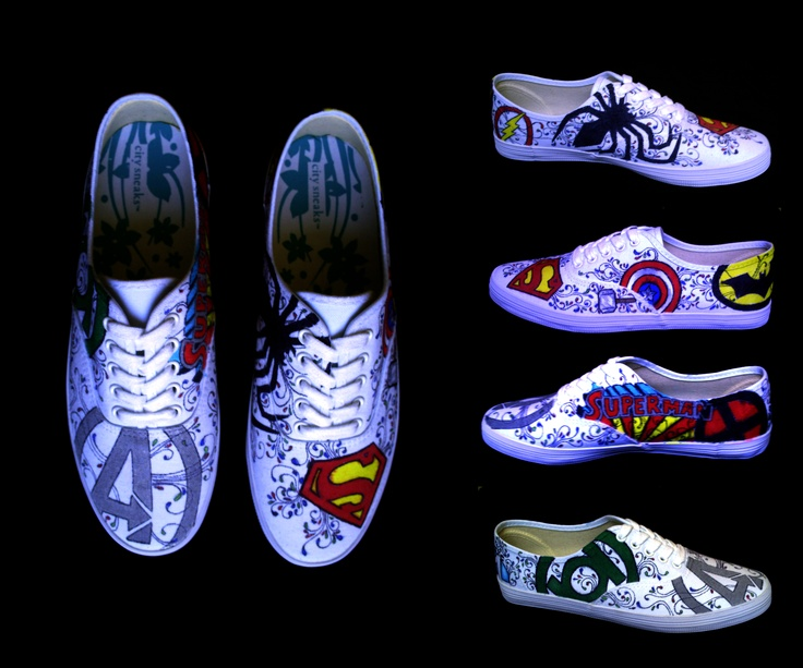 Katie: More shoe art!! These shoes I drew super hero symbols on for my friend. Again I used sharpies and copics.