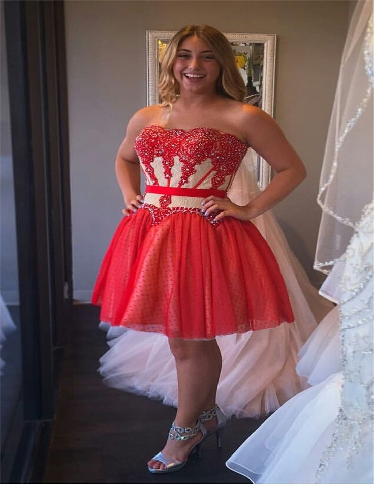Plus red dress for teens