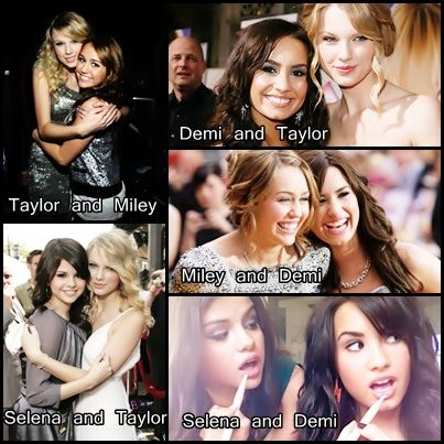 selena gomez and demi lovato and taylor swift and miley cyrus dey had separated demselves frm eachother a year back... but u noe,... selena n demi can neva live widout eachother so dey REUNITE on twitter!
