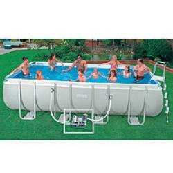 Accessoires pour piscine : Piscines : Piscine rectangulaire 7,32 x 3,66m.Épaisseur 77/100. Livrée avec pompe de filtration 7,6 m3/h, skimmer de surface, kit aspiration, combo stérilisateur,