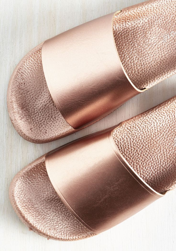 On the Bright Slide Sandal in Rose Gold. Brimming with optimism, you realize that your metallic sandals are inspiring your outlook. #copper #modcloth