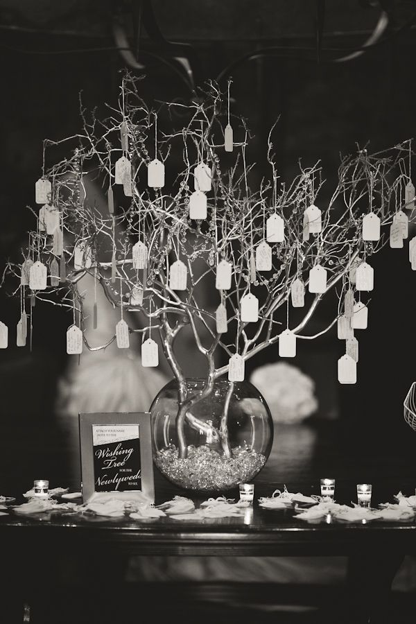 Hanging Wishing Tree Could Be Centerpiece On Table Surrounded By Votives Guests