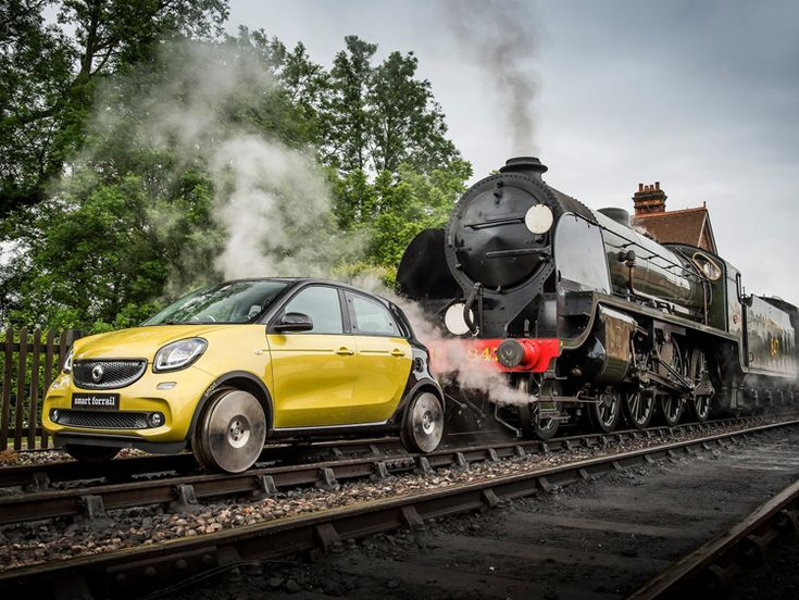 British train engineering specialists at Interfleet have developed one-off Smart ForFour modified to run on rails.