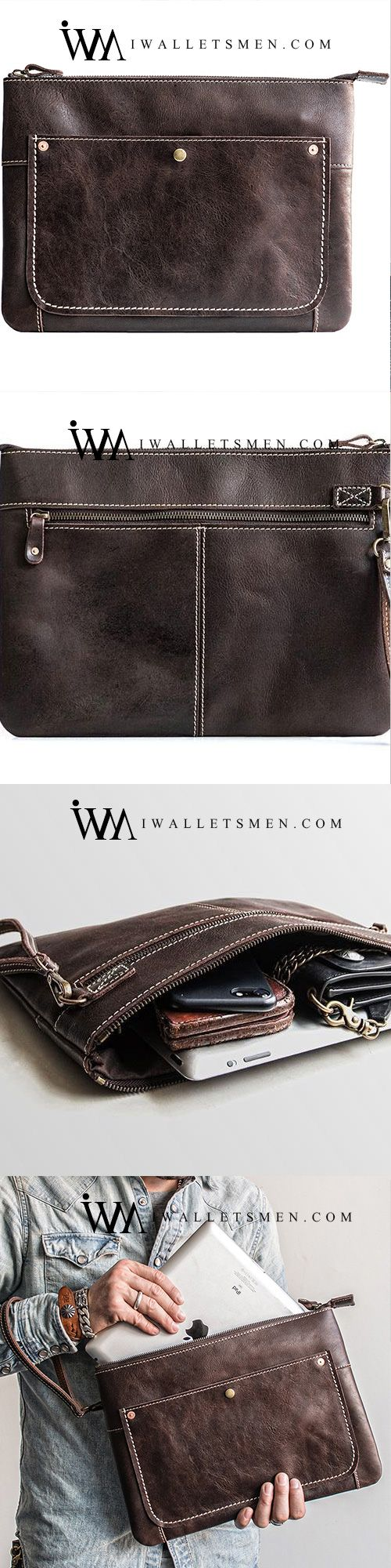 HANDMADE LEATHER MENS COOL LONG LEATHER IPAD BAG BIFOLD CLUTCH WALLET FOR MEN