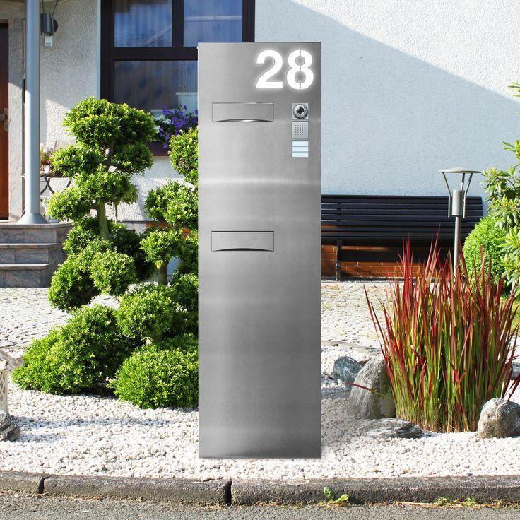 Unsere Briefkastenanlage Briefkastensäule beleuchtet freistehend wird individuell nach Kundenwunsch mit Hausnummer, Sraßen- oder Familiennamen gefertigt.