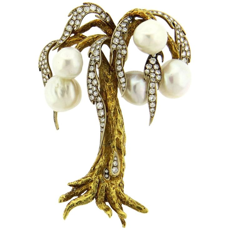Large Pearl Diamond Gold Tree Brooch Pin   From a unique collection of vintage brooches at https://www.1stdibs.com/jewelry/brooches/brooches/