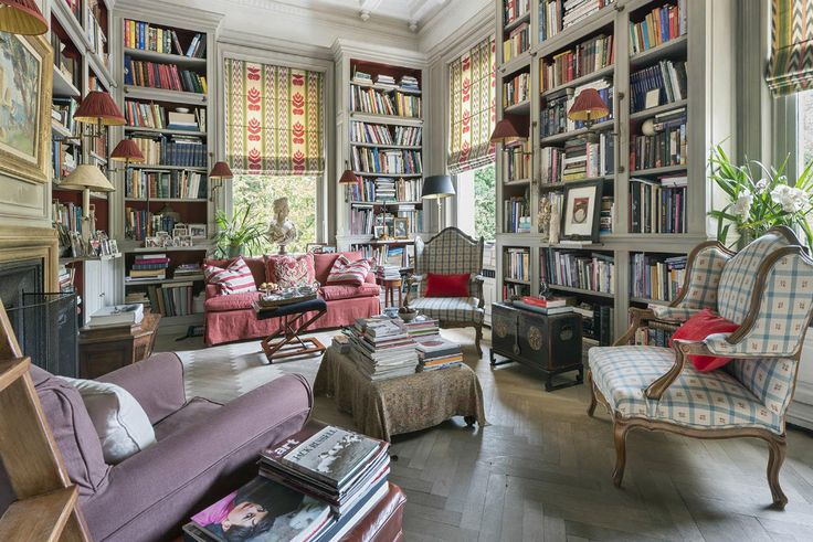 Love this mix of pattern, color, texture and BOOKS! libraries