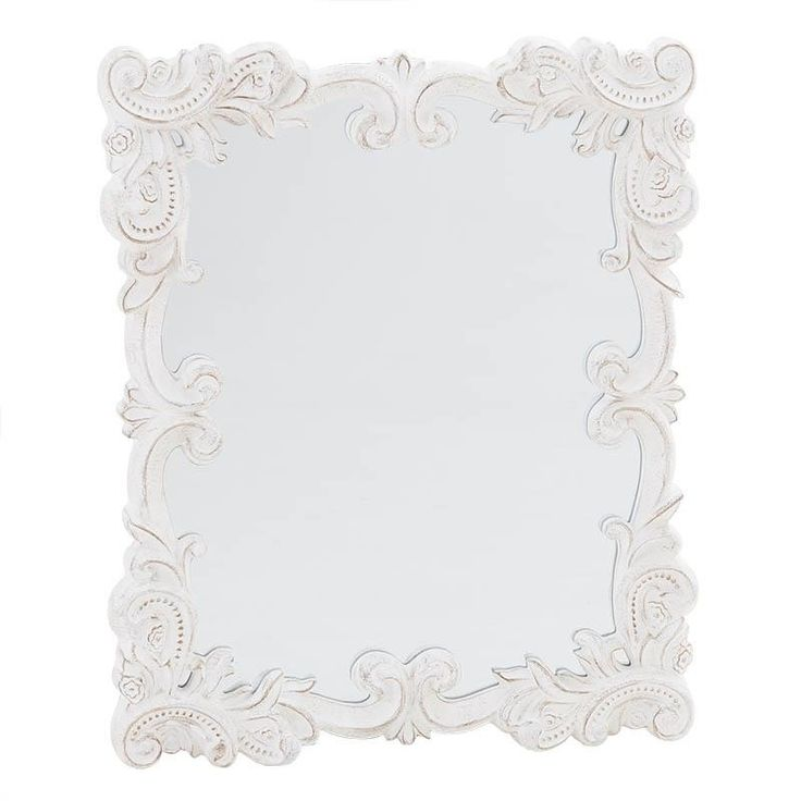 POLYRESIN WALL MIRROR IN WHITE COLOR 50X3X60