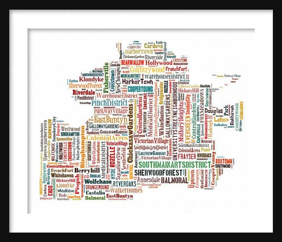 "Memphis Map Multi Color Typography Map 11"" x 14"" Poster Print"