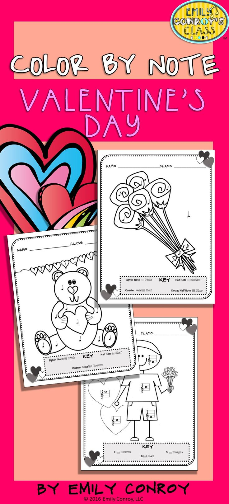 Color by Note (Valentine's Day) contains 13 music coloring sheets for elementary music students. 5 of the coloring pages are color by note, 3 are color by note with a fun connect-the-dots twist, and 5 are color by line or space note. You can use these pages to integrate math into your music curriculum (the connect-the-dot pages require students to count by 2's, 5's and 10's)!