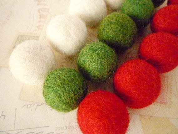 Felt Balls x 15 - Red, Green and White - 2cm - Christmas colours