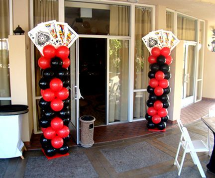 Casino theme party balloon columns