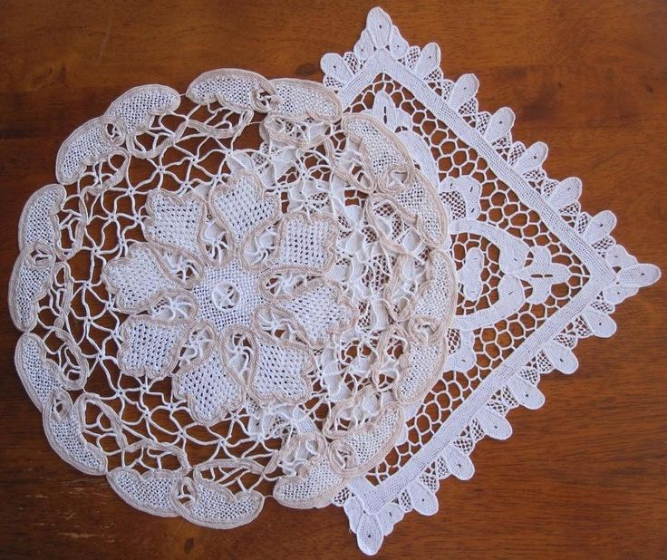 Two Vintage Needle Lace DOILIES 23cms x 23cms in White 26cms Round in Taupe and White Both have been stored over a long period of time and never used. I have *Washed *Starched *Ironed  to freshen up so comes to you ready to use