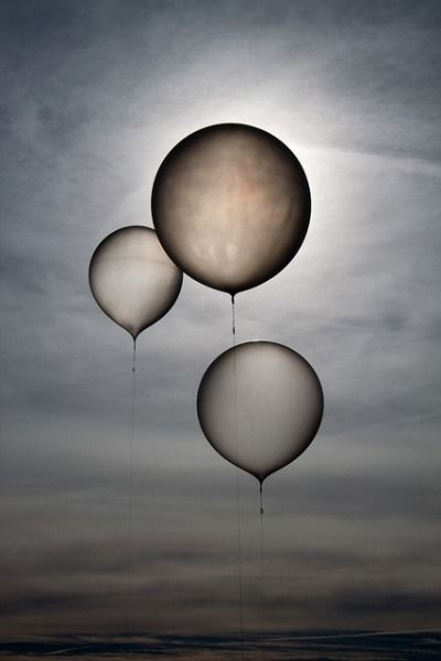 Waiting Balloons, by lacomj. Three weather balloons readied for release.