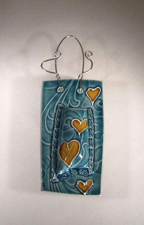 Ceramic Wall Pocket Vase Aqua with Love by CeriWhiteStudios, £24.00