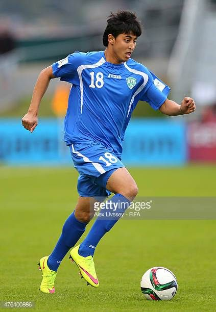 Ravshanbek Khursanov of Uzbekistan runs with the ball during the FIFA U20 World Cup Group F match between Fiji and Uzbekistan at the Northland Events...