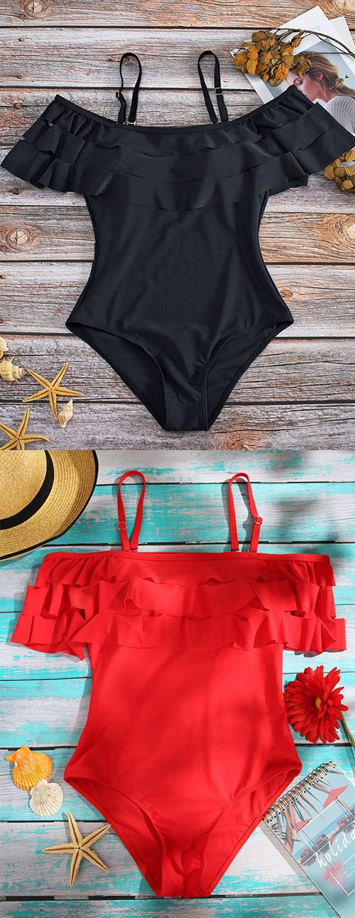 Women's Summer Swimwear. Black One-piece.