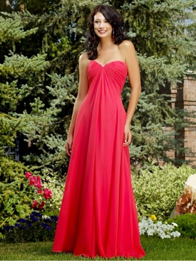 Cheap Empire Sweetheart Long Red Chiffon Bridesmaid / Maxi / Evening / Prom / Maternity Dresses under 100 99901065