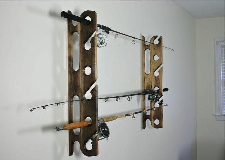 Wall mounted Sport Fishing Rod Holders in Black Walnut