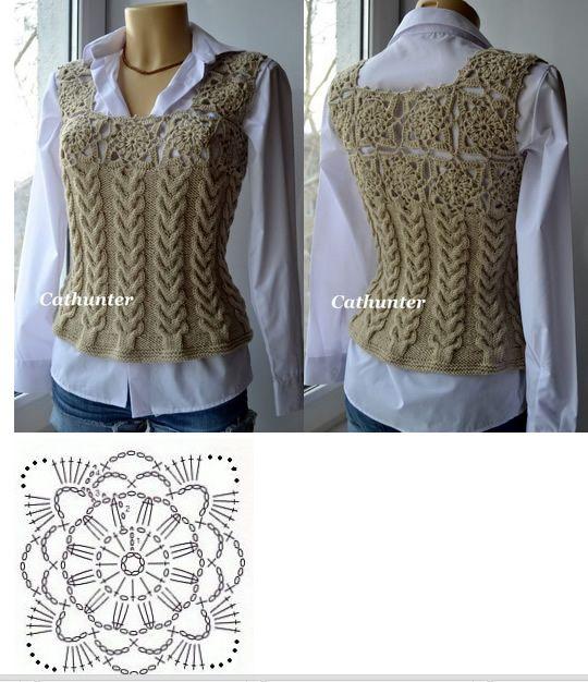 Chaleco tejido - Crochet - Dos agujas