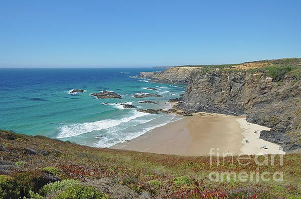 Overview of Zambujeira do mar beach in Portugal