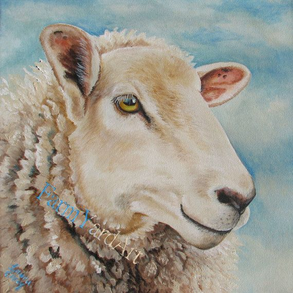 love her work, Original Fine Art Sheep painting by Laura Carey dorset romney