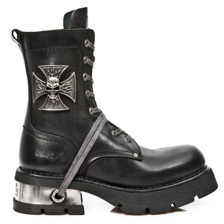 New Rock Hombres Cuero Motorista Largo Zapatos - M.272 (EU 44, Negro)