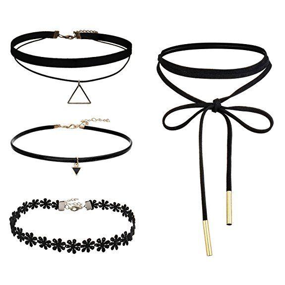 SECOWEL 4 Stücke Gliederketten Schwarz Damen Halskette Choker Gothic Spitze und PU Leder Einstellbare Kette Punk Halsband