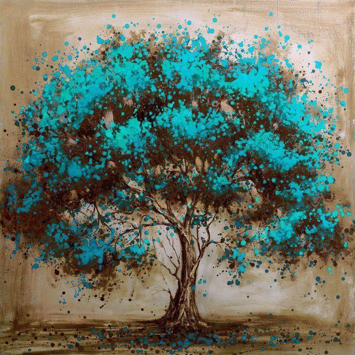 turkuaz ağaç yağlıboya