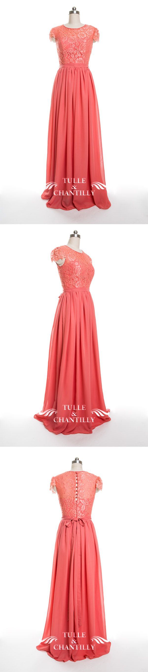 dark coral lace and chiffon  bridesmaid dresses 2016