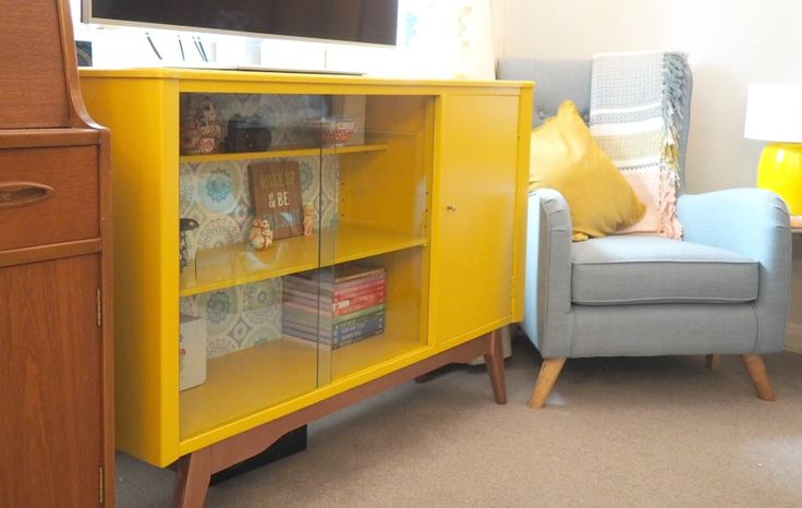 Retro Cabinet Upcycling, making this 50's display cabinet a mustard painted cabinet of beauty using Valspar Paint and Pinty Plus Copper Spray | Innocent Charms Chats