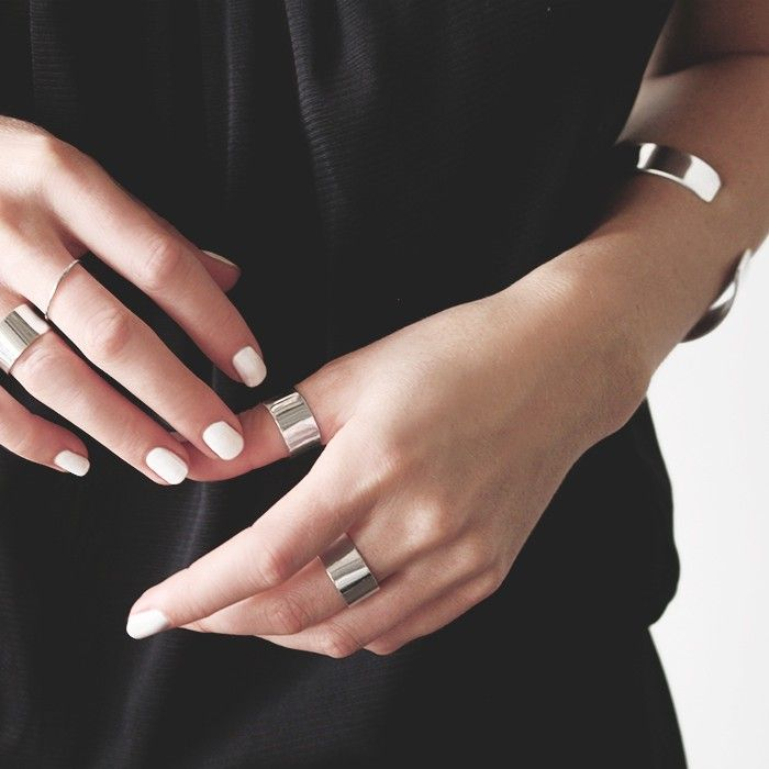 V&O X FIGTNY collaboration, featuring a cuff bracelet, a skinny stacking ring, a thick stacking ring, and a cuff earring, all made from .925 solid silver.