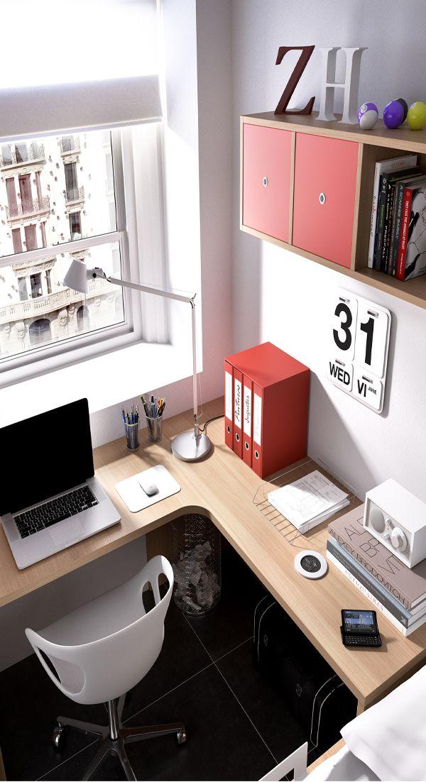 Mueble melamina color madera haya natural y rojo muebles de