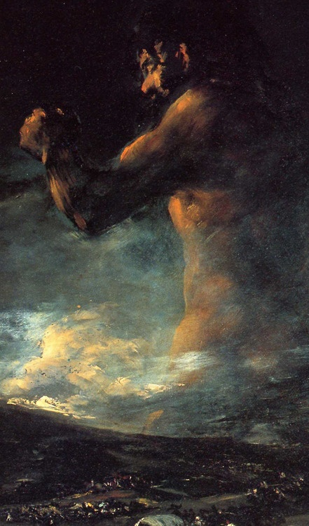 detail of The Colossus by Francisco Goya